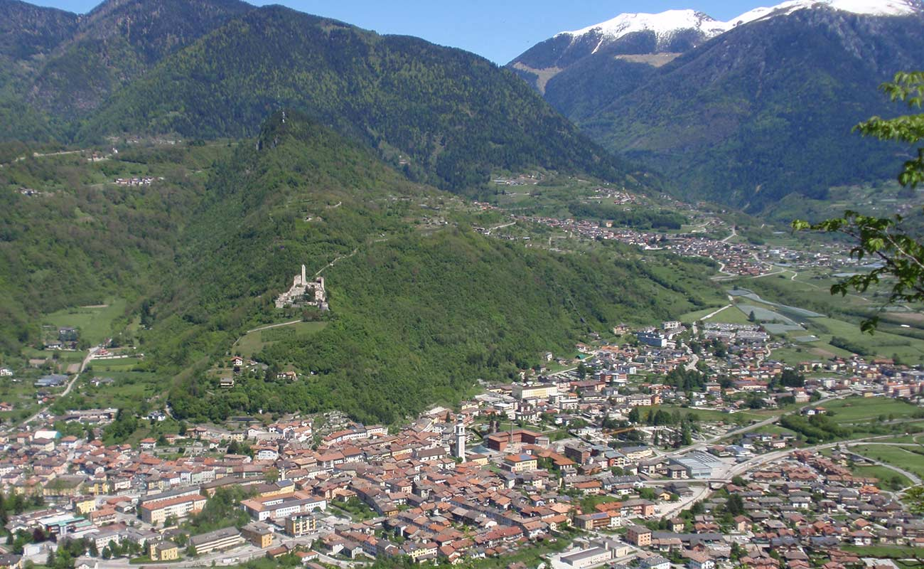 View from the top of the town of Borgo Valsugana in the Valsugana valley